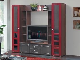Гостиная Грация 7 Красный глянец/Черный глянец