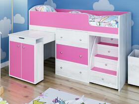 Кровать-чердак Малыш Винтерберг-розовый