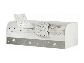 Кровать детская с подъёмным механизмом КРП-01 Трио белый/звездное детство