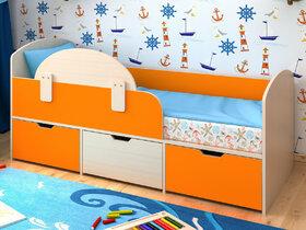 Кровать Малыш Мини дуб-оранжевый с бортиком