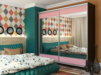 Шкаф-купе Юлия с 2-мя зеркалами МДФ венге-розовый