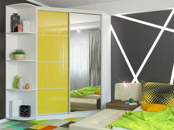 Угловой шкаф-купе Анна МДФ с угловым элементом белый-желтый